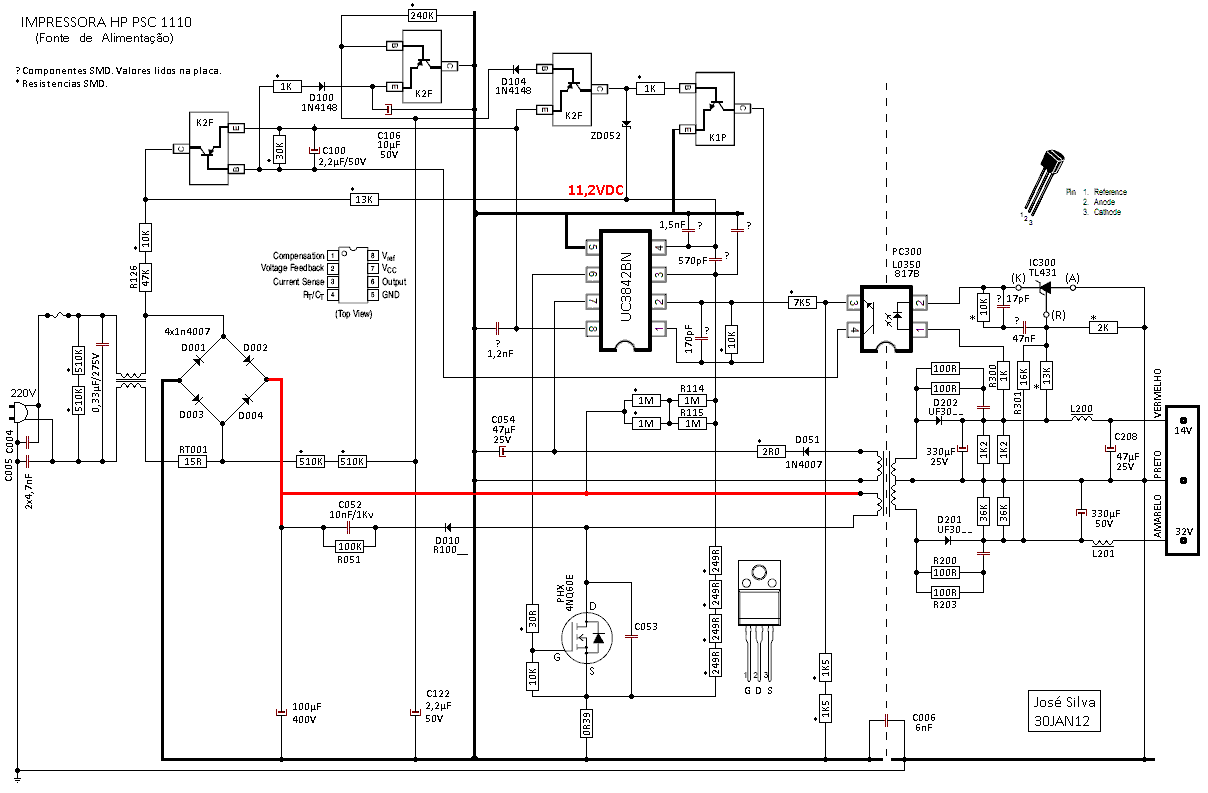 Схема блока питания принтера eps-23e