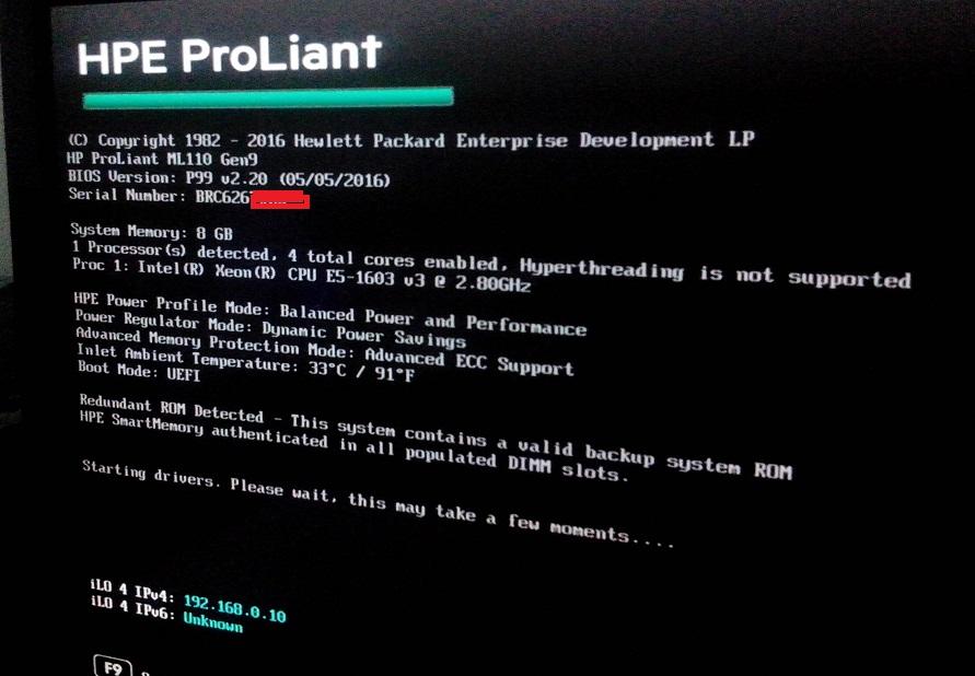 ML110 G9 - Error 160 BIOS.jpg