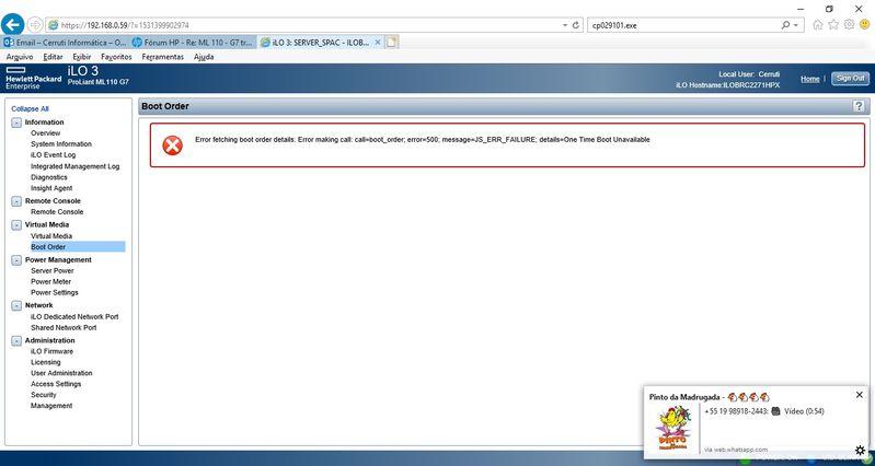 Fui  checar Boot Order no iLO e está com esse erro. Ajuda no diagnóstico?