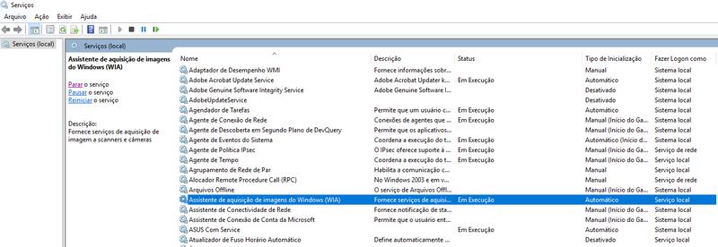 Assistente de aquisição de imagens do Windows (WIA) em Execução