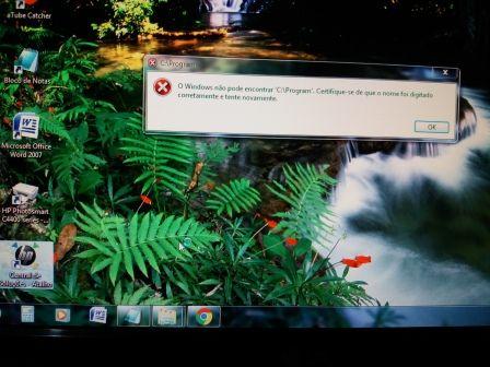 Quando criei um atalho  HP SOLUTIONS deu esta mensagem