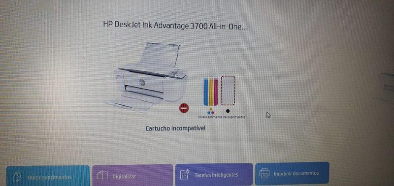 Programa smart HP mostrando incompatibilidade