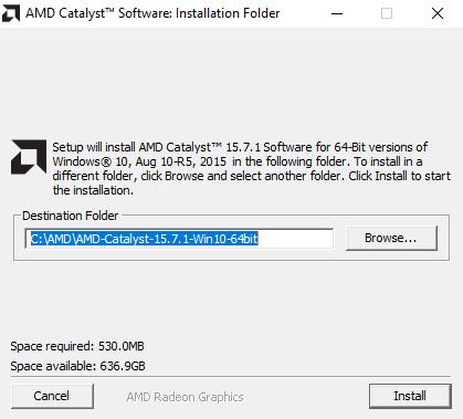 Para iniciar a instalação, clique no setup com o botão direito e selecione executar como administrador.  A grande sacada está aqui, observe o diretório de instalação e clique em install. O instalador extrai os arquivos para aquela pasta, mas não instala o driver da placa, apenas o programa Catalyst. O rapaz do vídeo que eu assisti disse que  não era necessário instalar o Catalyst, mas eu optei por instalá-lo. Caso após a instalação seja necessário reiniciar o sistema,  reinicie.