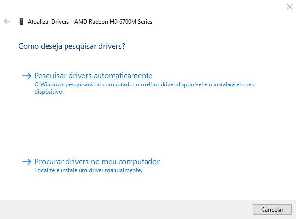 Selecione a opção  procurar drivers no meu computador.