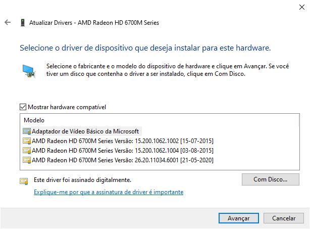 Instalar driver COM DISCO.