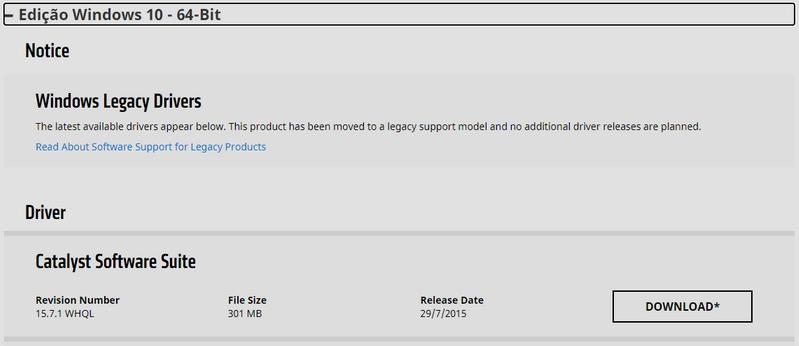 Escolha Windows 10 x64 e faça o download  somente do Catalyst Software Suite.