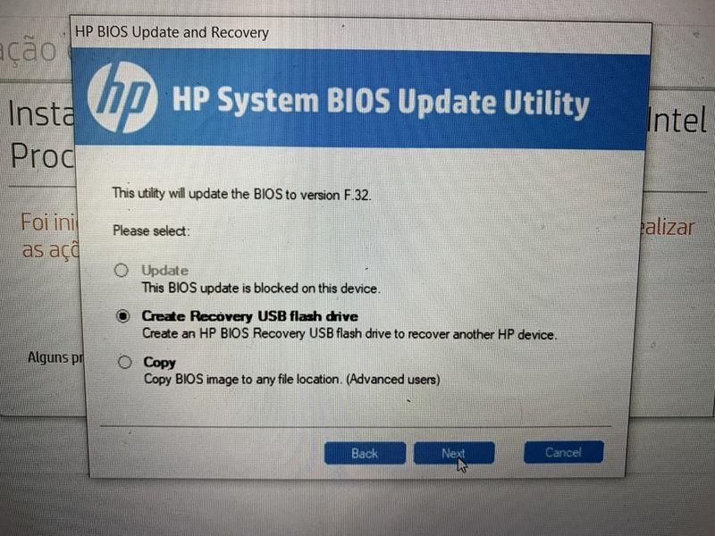 Como vê, diz que o update está bloqueado (usando essa opção no Windows)